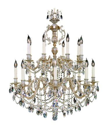 Shown in Antique White Glossy finish, Clear Precision Teardrop crystal and Pale Ivory Wax Candle Cover accent